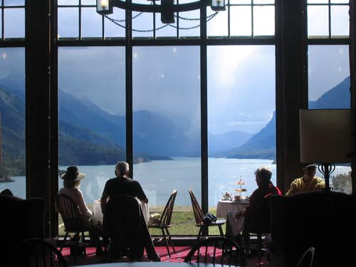 Waterton Lakes from inside restaurant