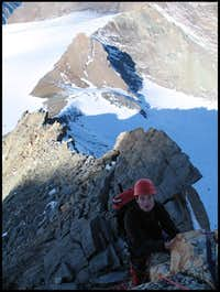 Climbing on Mont Blanc de Cheilon W-ridge