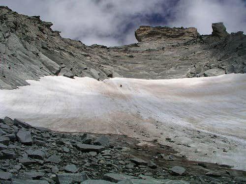 The snow field below Steinerne Maennln
