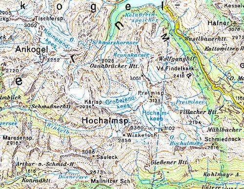 Hochalmspitze overview map.