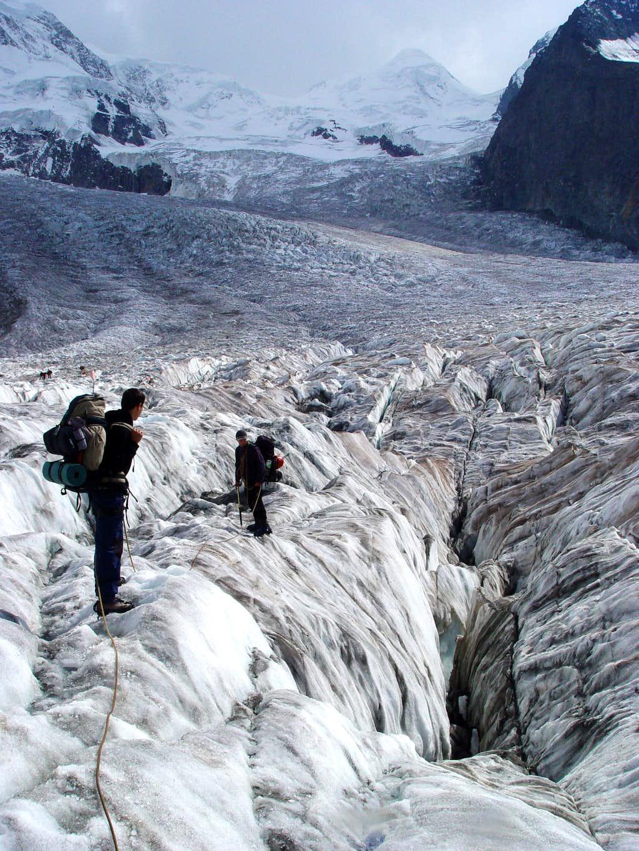Leaving the Gorner glacier