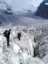 Leaving the Gorner glacier