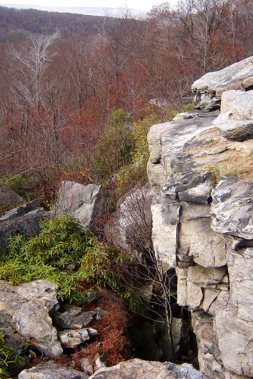Looking down on the outcropping from on top