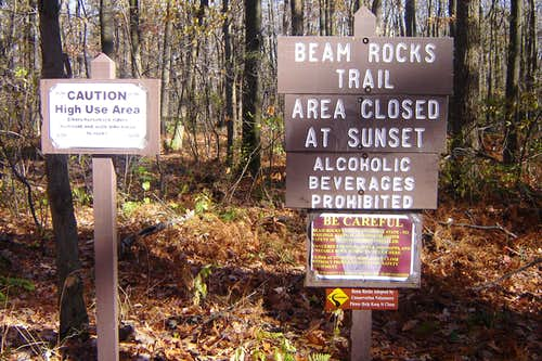 Trailhead sign at parking area