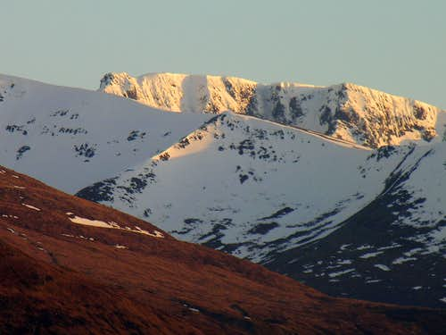 Ben Nevis from the Commando Memorial at Sunset