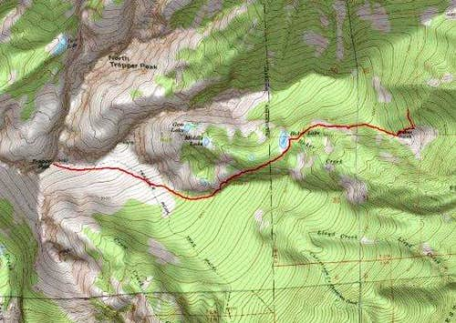 3D Topo of Baker Lake Gully Route