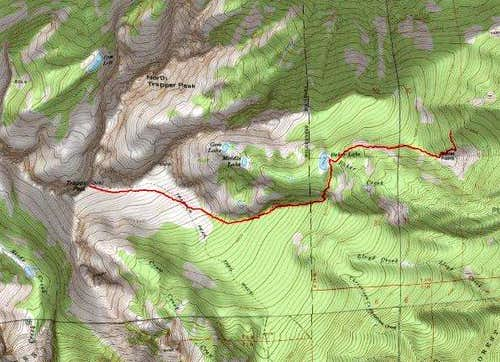 3D Topo of Baker Lake Ridgeline Route