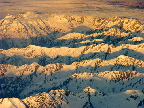 Alpenglow somewhere over the Alps on a Bergamo- Manchester flight in late March