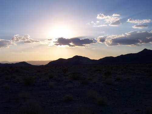 Sunset in Mojave with Mtn. Background