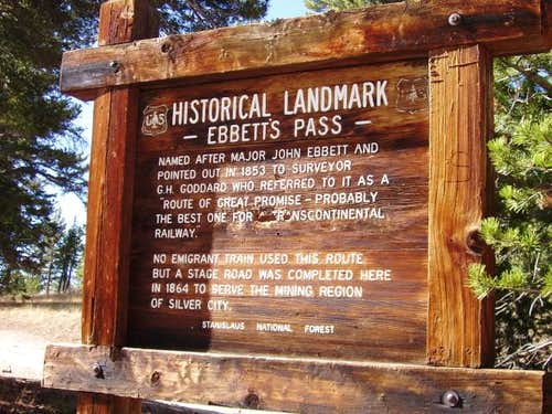 Ebbetts Pass Historical Sign