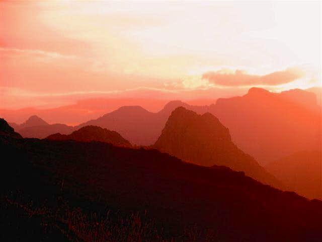 Sunset landscape from Susarón peak