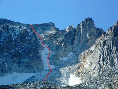 Highlighted Northeast Couloir Route