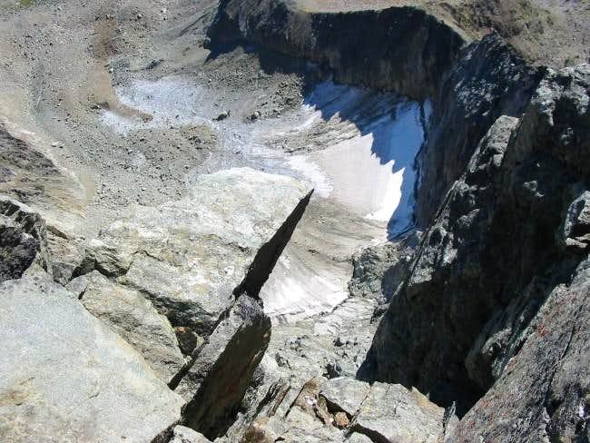 Looking down the east-face.