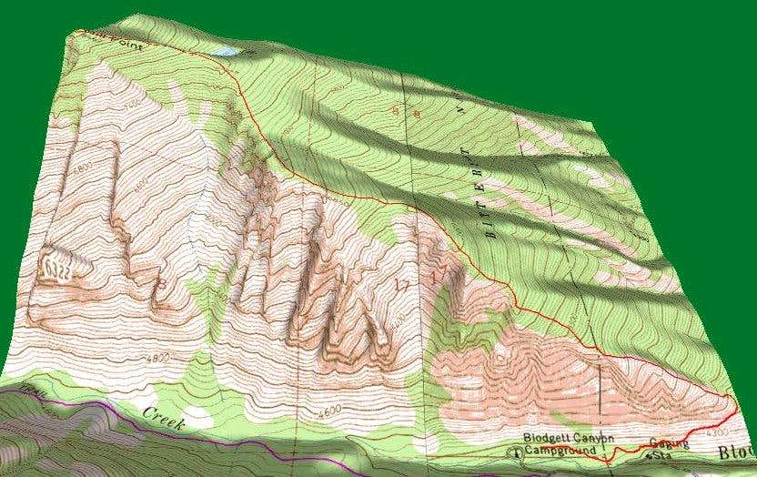 3D Topo of Mill Point Route