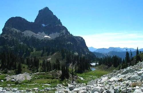 Cathedral Peak towers over...