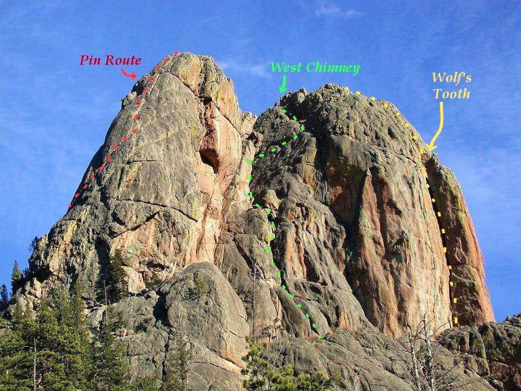Rock Climbing Routes on Twin Owls