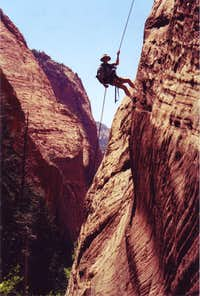 rappelling in the kolob canyons