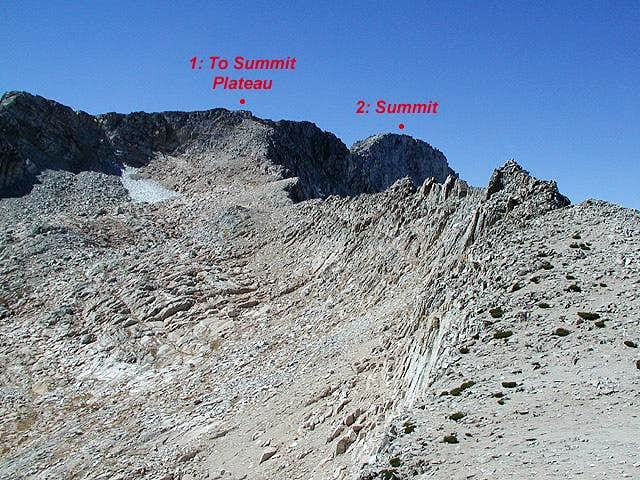 The East Ridge and the summit...