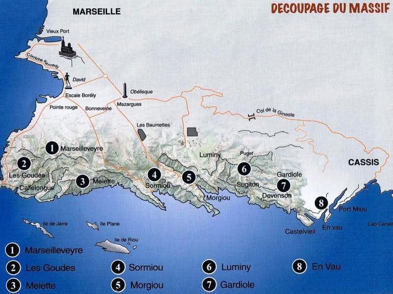 Map of Les Calanques