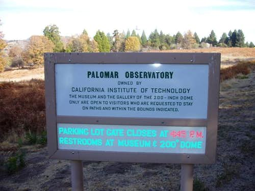 Mount Palomar Sign