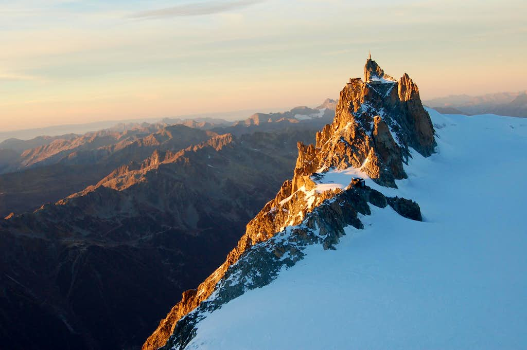 The Aiguille du Midi from on top of the Tacul Triangle before sunset
