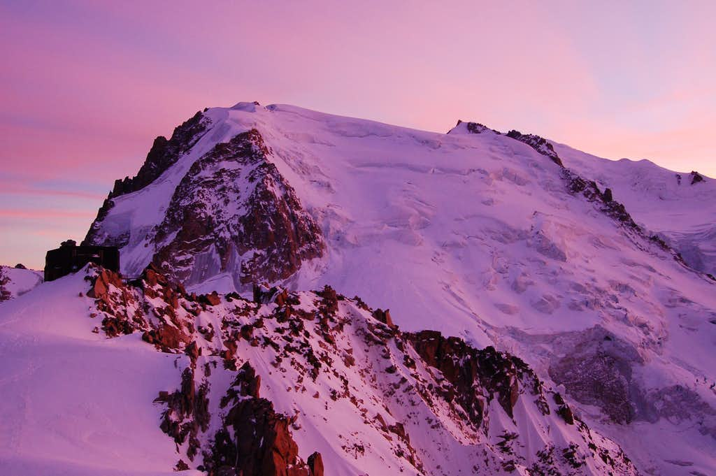Sunset over Mont Blanc du Tacul from the Abri Simond bivi hut