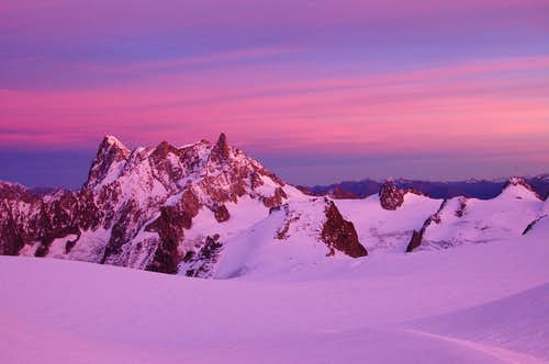 Dent du Géant and Grandes Jorasses from the Abri Simond bivi hut shortly before sunset