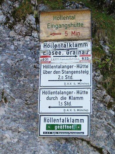 Route Sign near Höllentalklamm