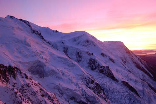 The Mont Blanc massif from the Abri Simond hut at sunset