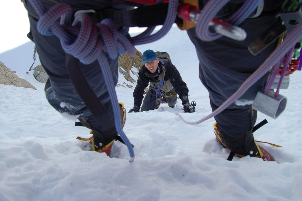 Climbing the couloir at the beginning of Contamine Grisolle on the triangle of Mont Blanc du Tacul
