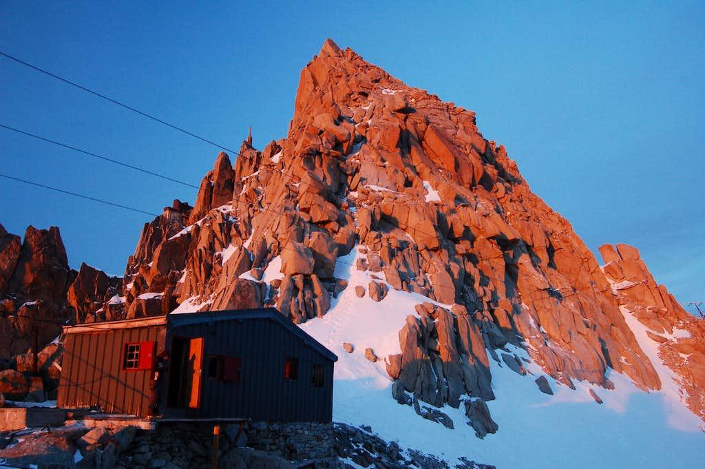 The Cosmiques Arête starts above the Abri Simond hut