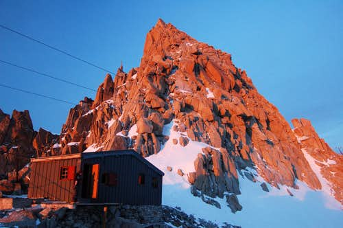 The Cosmiques Arête starts above the Abri Simond hut