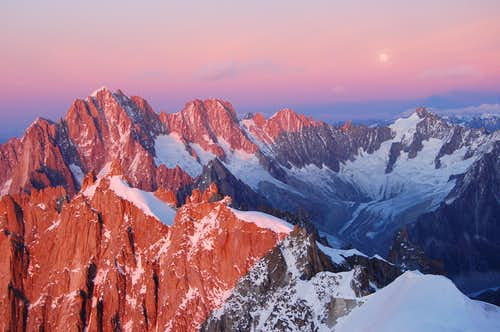 Sunset over the south faces of Aiguille Verte, Les Droites and Les Courtes