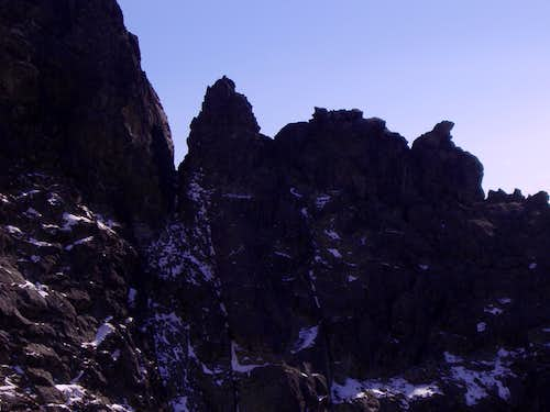 Crags in the saddle between Cesky peak and Velke kopky