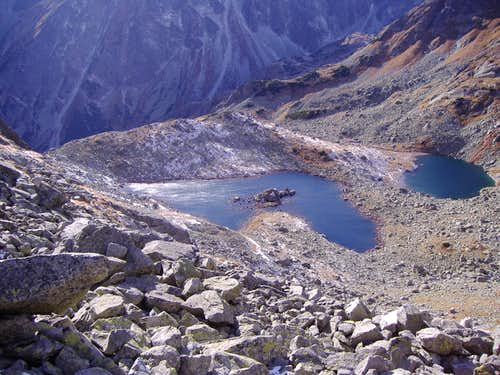Great and small frog lakes under Rysy peak