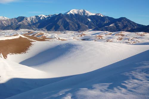 Mount Herard and Dunes covered in snow