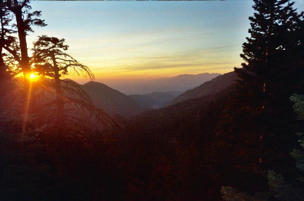 Sunset hiking down San Gorgonio