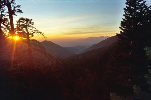 Sunset hiking down San Gorgonio