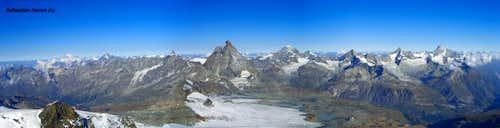 Panorama Mont Blanc - Matterhorn - Weisshorn