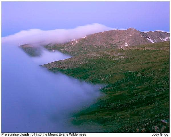 Mount Evans rolling clouds