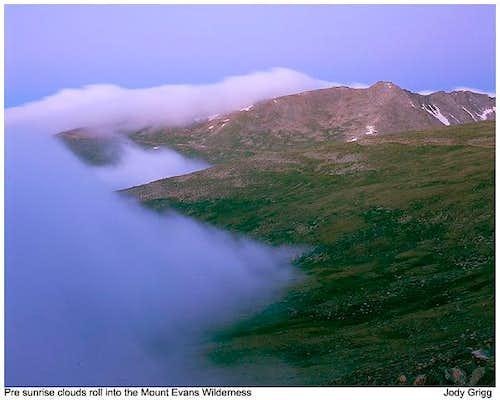 Mount Evans rolling clouds