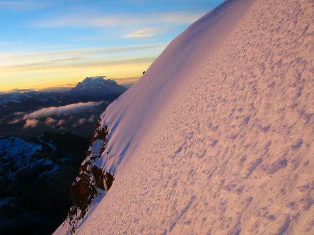 Sunrise just below summit