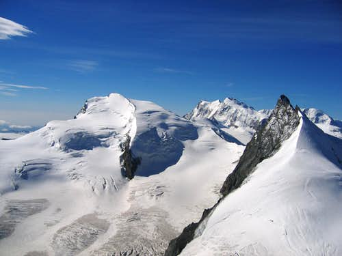 Strahlhorn and Rimpfischhorn from Feejoch