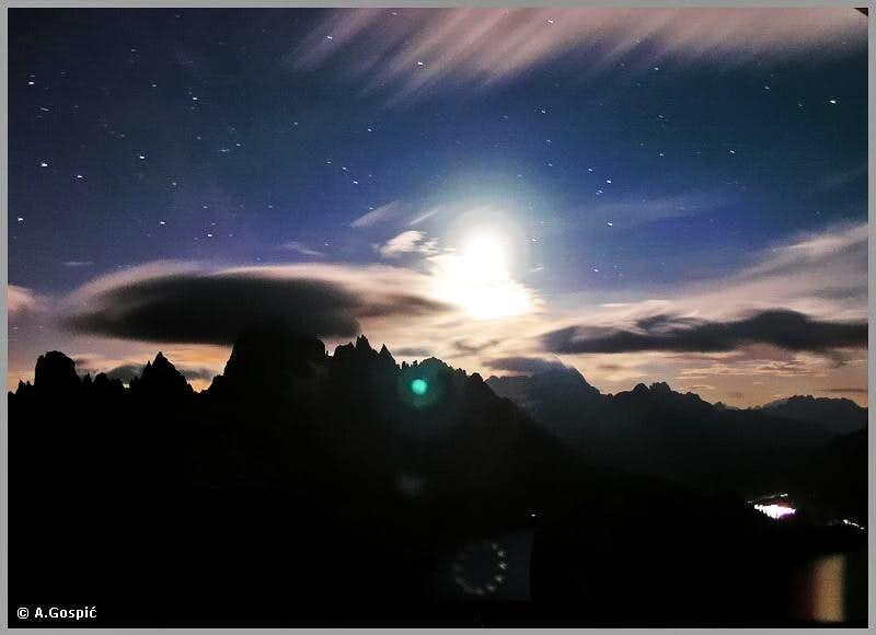 Windy night in Dolomites