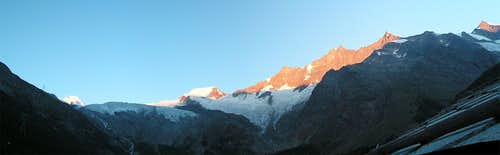 Saas Fee sunrise panorama