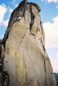 One side of Prusik Peak's summit pinnacle