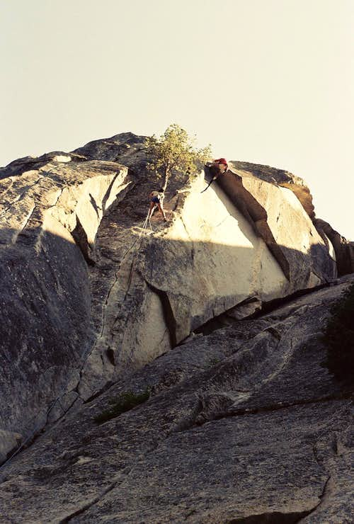 Climbing the second pitch of Flower at High Rank, Suicide Rock