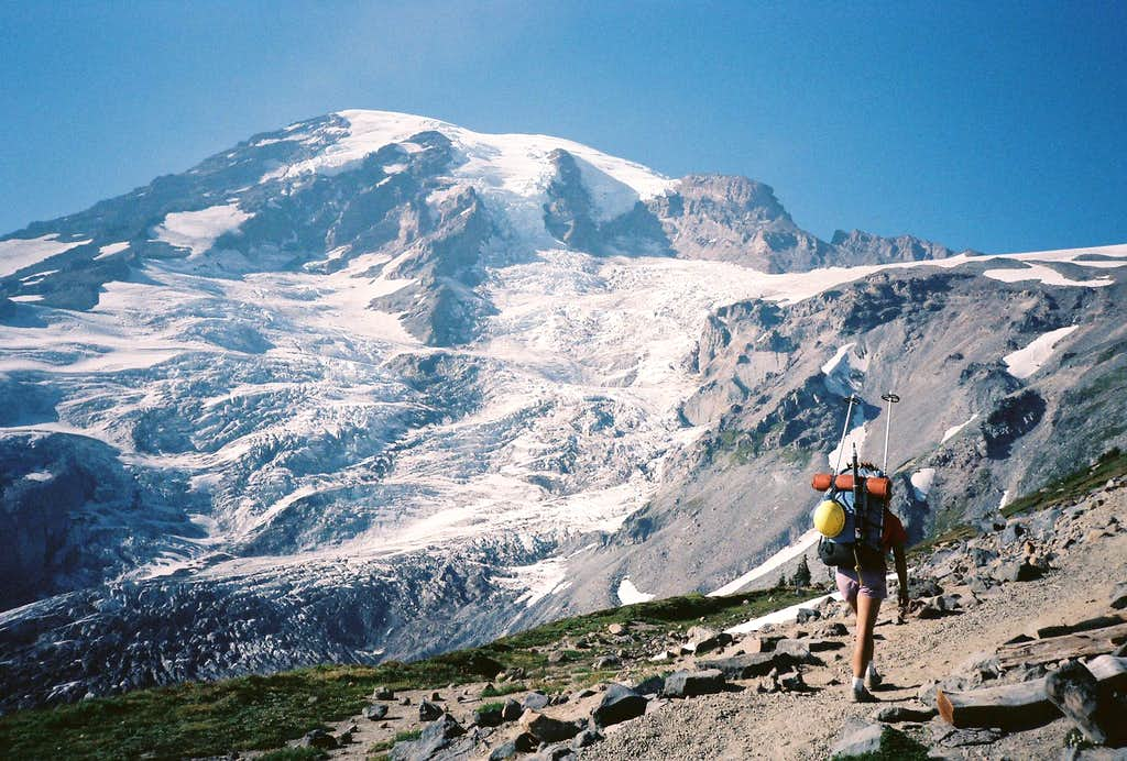 On the trail to Camp Muir, August 1986