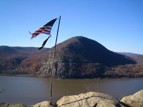 flag with Storm King in the background
