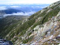 looking down the side of Mt. Lafayette